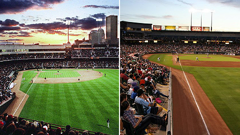 Oklahoma City's AT&T Bricktown Ballpark (l) and Round Rock's Dell Diamond switched affiliates.